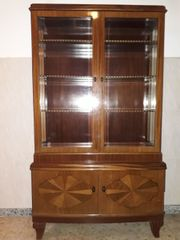 Antiker Vitrinenaufsatzschrank, Massivholz,