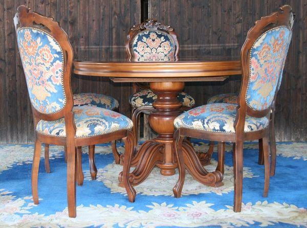 Landhaus Möbel Speisezimmer Esstisch Massiv Mit 5