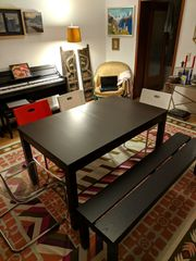 Esstisch mit Stuehlen dunkelbraun ausziehbar
