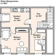 Geschoss mit zwei Zimmer und