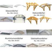 Vordach aus Glas Holz Aluminium