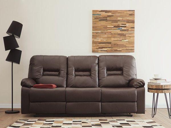 3 Sitzer Sofa Kunstleder Braun Verstellbar Bergen Von Beliani In