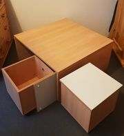 Spieltisch Holz mit 2 Rollcontainer-Hocker