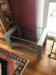 Lowboard TV Möbel glas Silber