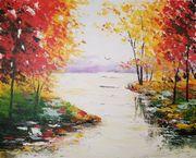 Gemälde Herbsttag am See Acryl
