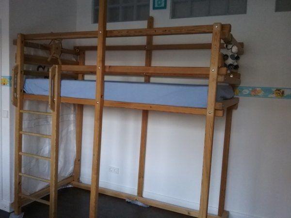 Hochbett Holz 90x200 : Reserviert hochbett abenteuerbett holz massiv unbehandelt