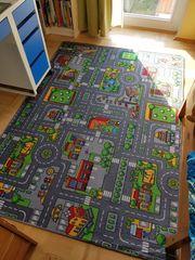 Kinderteppich Spielteppich mit Straßen für