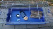 Blauer Hasenkäfig Meerschweinchenkäfig Nagerkäfig zvk