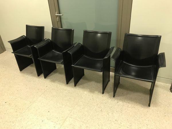 München Designermöbel 4er set matteo grassi korium stuhl leder schwarz in münchen