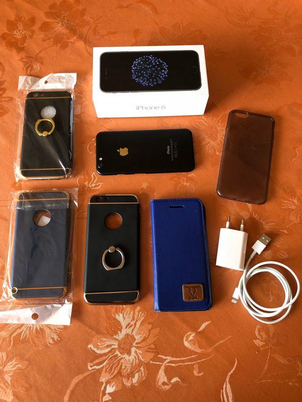 extravagantes IPhone 6 mit viel Zubehör - Schiffweiler - iPhone 6 chic im gold/schwarz matt Design, 64GB, immer in Hülle und Displayfolie, Folie ist noch drauf, daher wie neu - ohne Macken und keine Kratzer,Original Verpackung, 5 Handyhüllen (3 sind noch neu), Ladegerät und Kabel, siehe Fotos - Schiffweiler