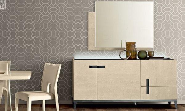 Anrichte Sideboard Wohnzimmer Ambra Beige Birken Hochglanz Modern in ...