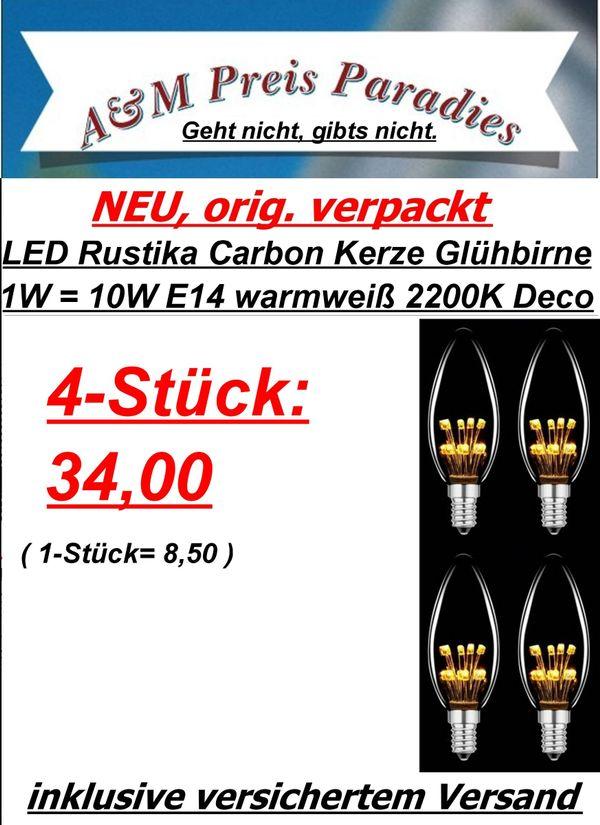 4-Stk. LED Rustika Carbon Kerze Glühbirne 1W = 10W E14 warmweiß 2200K Deco Glühlampe - Siegburg - LED Rustika Carbon Glühbirne Kerze1W E14 warmweiß 2200K 4 StückDer optimale Ersatz zur klassischen Rustika GlühbirneBesonders sparsam und effizient -) Energieeffizienzklasse A+Identische Größe mit einer herkömmlichen GlühlampeSockel: E1 - Siegburg