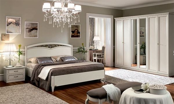 Klassisches Schlafzimmer Komplett Kleiderschrank Bett Nachttische ...