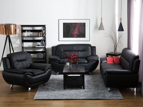 2 Sitzer Sofa Kunstleder Schwarz Leira Beliani In Berlin
