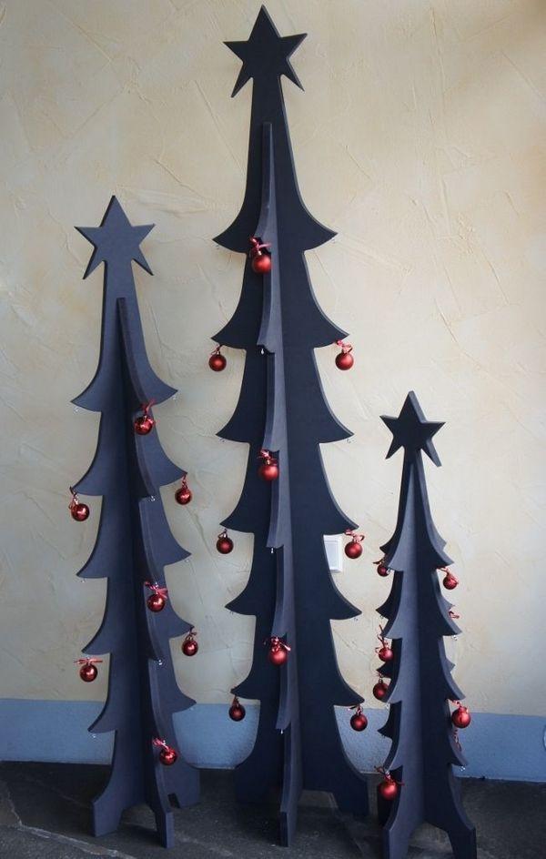 Christbaum Schwarz Stylisch, Holz, Dekoration, Weihnachtsbaum in ...