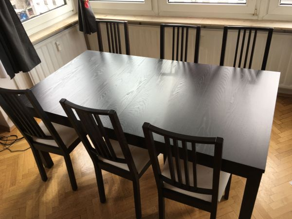 ikea esstisch ausziehbar 6 st hle gebraucht in mannheim speisezimmer essecken kaufen. Black Bedroom Furniture Sets. Home Design Ideas