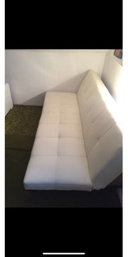 Weiße Kunstleder Couch Sofa