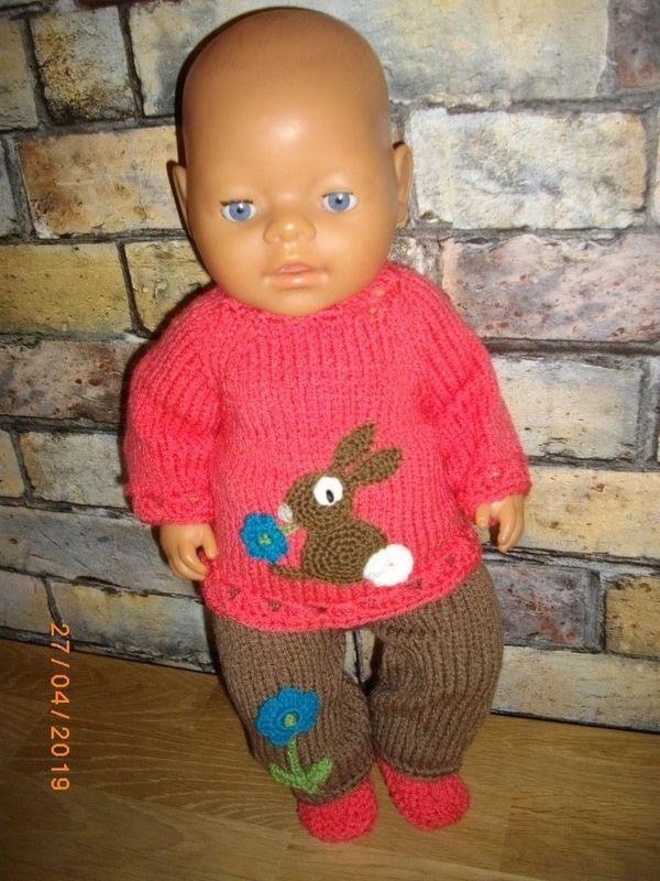 Pullover passend für Baby Born Handarbeit,gestrickt Puppenpullover