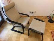 IKEA POÄNG mit Hocker Stoff