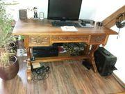 Schreibtisch Eiche Handarbeit antik