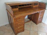 Massiver Kontor-Schreibtisch aus Eiche Rollbureau