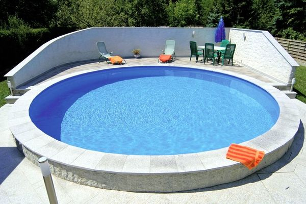 Pool rund rundpool 350x120 cm stahlwandpool basic for Garten pool 6m