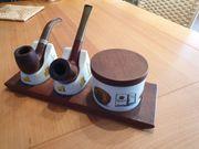 Pfeifenständer mit Tabakdose und 2