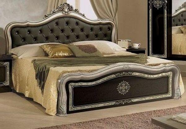 Schlafzimmerbett Lucy Bett 180x200 cm in schwarz silber Klassisch in ...