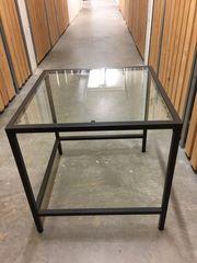 Kleiner Glastisch braun-anthrazit