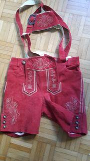 rote Mädchen Damen-Lederhose Gr34 orig